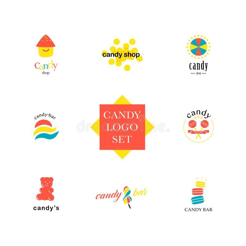 Colección plana del logotipo del vector para la tienda del caramelo y la tienda dulce ilustración del vector
