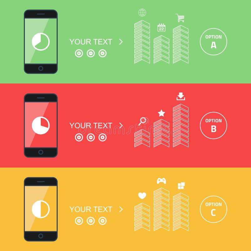 Colección plana del vector de teléfonos móviles modernos Banderas elegantes de la promoción del teléfono stock de ilustración