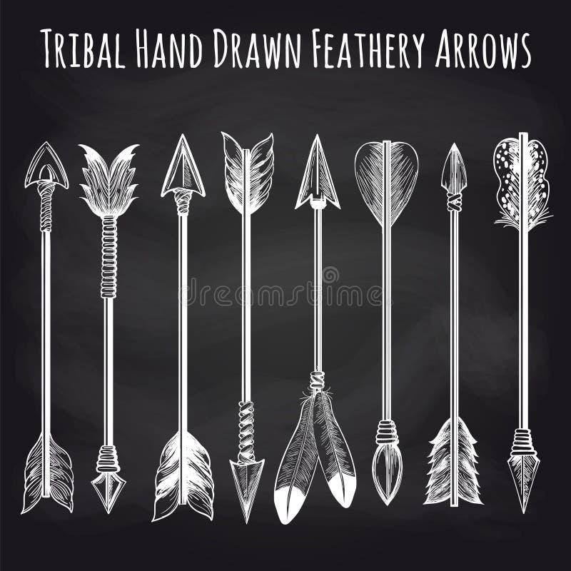 Colección plumosa de las flechas en la pizarra stock de ilustración