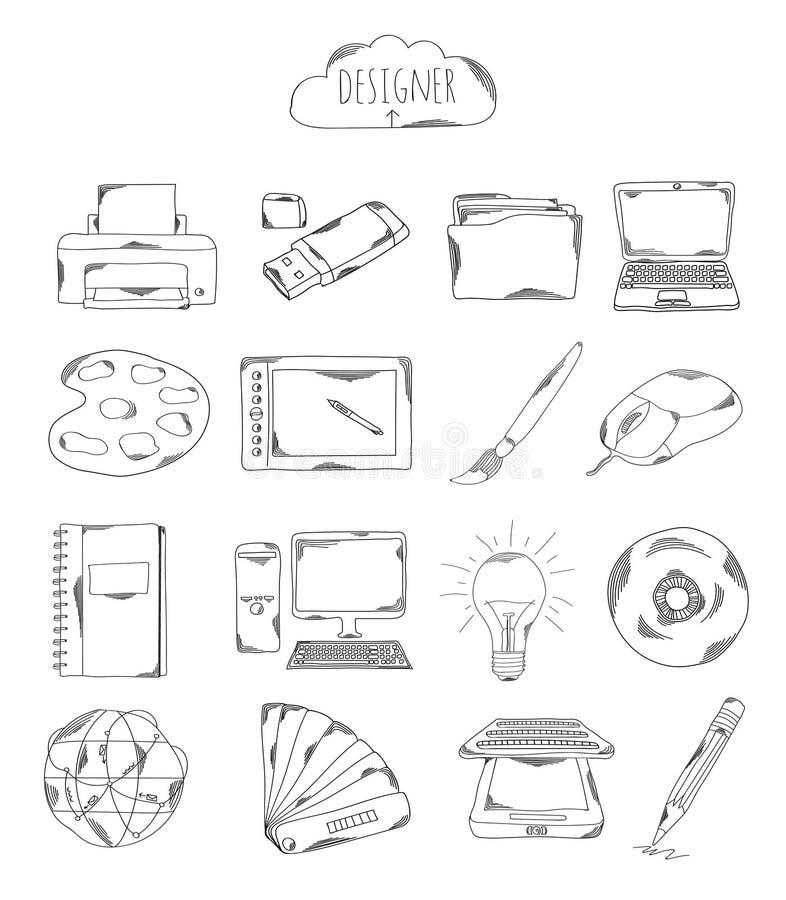 Colección profesional de iconos y de elementos Escenógrafo, garabatos dibujados mano de los elementos del ordenador aislado en el libre illustration