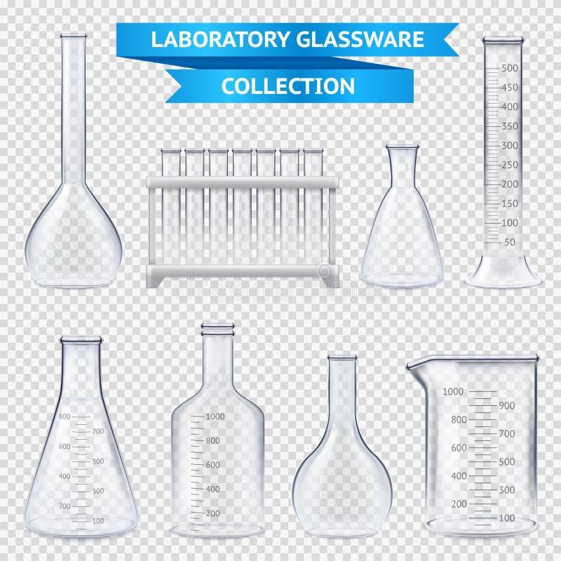 Colección realista de la cristalería de laboratorio ilustración del vector
