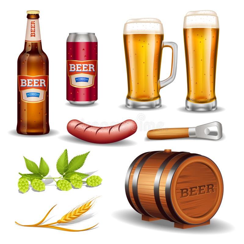 Colección realista de los iconos de la cerveza stock de ilustración