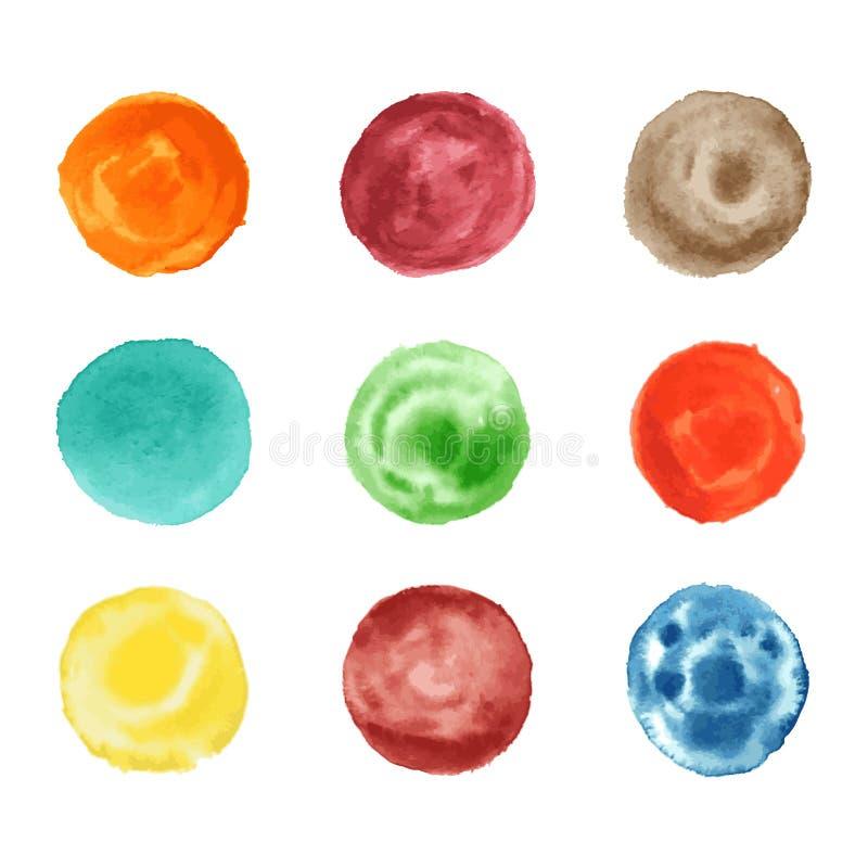 Colección redonda de las ilustraciones de la textura del estilo del círculo de la acuarela hecha a mano libre illustration