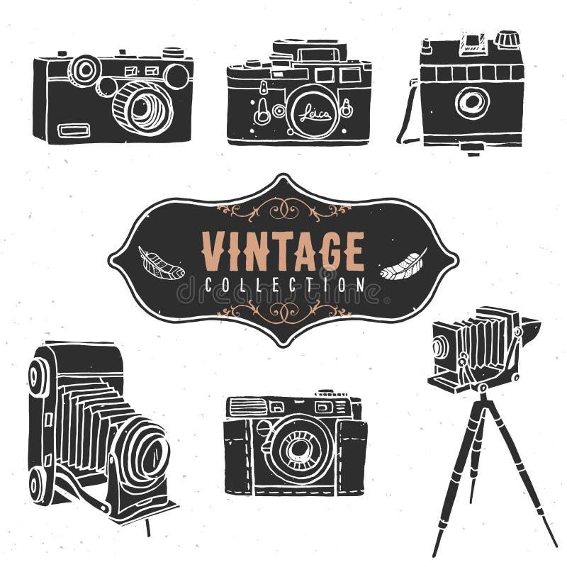Colección retra de la cámara del vintage vieja Mano drenada libre illustration