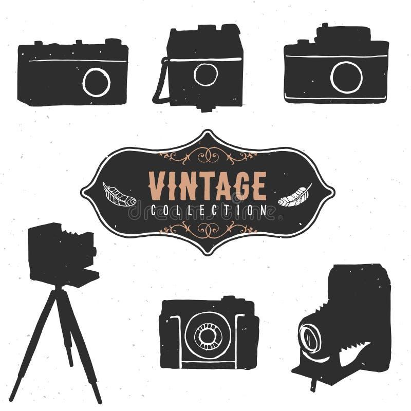 Colección retra de la cámara del vintage vieja Vector drenado mano ilustración del vector