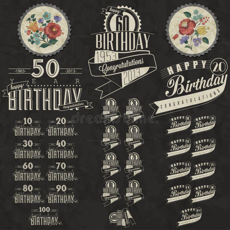 Colección retra de la tarjeta de felicitación del cumpleaños del estilo del vintage en diseño caligráfico. libre illustration