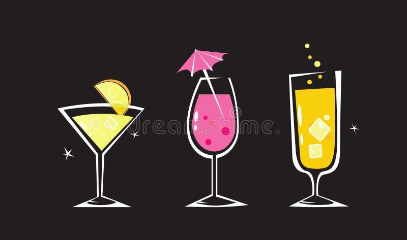 Colección retra de las bebidas en fondo negro libre illustration