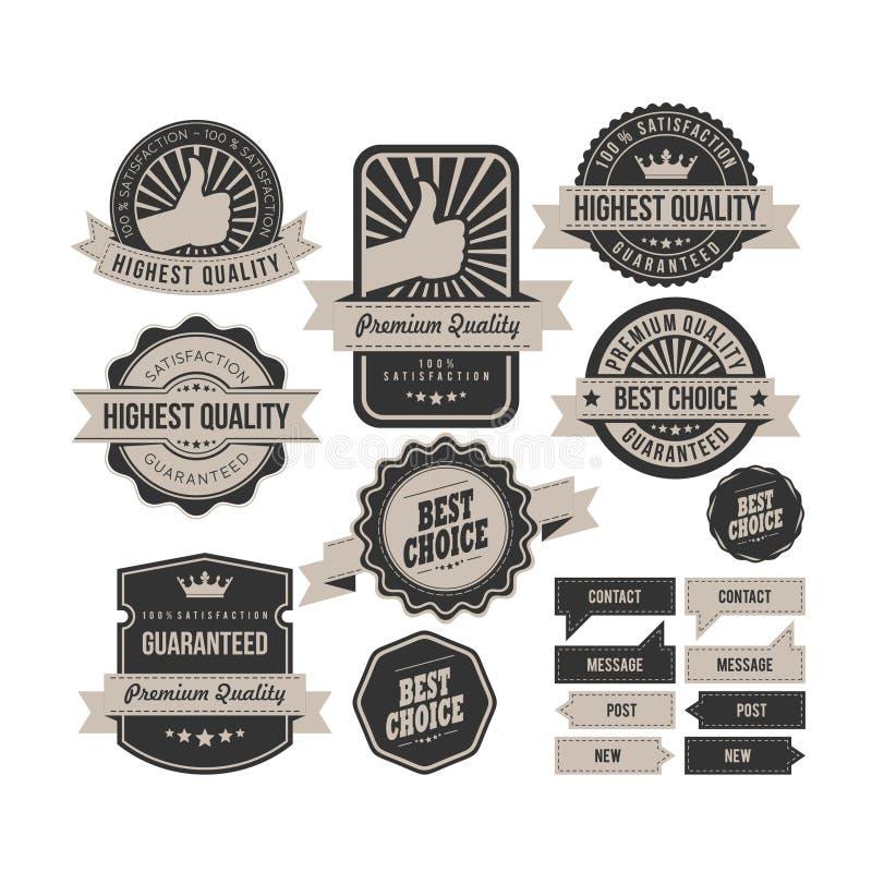 Colección retra de las insignias, etiqueta gris oscuro del vintage y bandera libre illustration