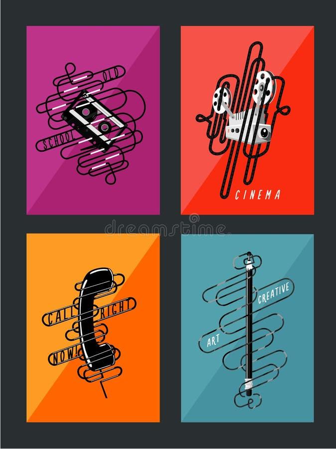 Colección retra de los carteles Ejemplo del arte del vintage libre illustration