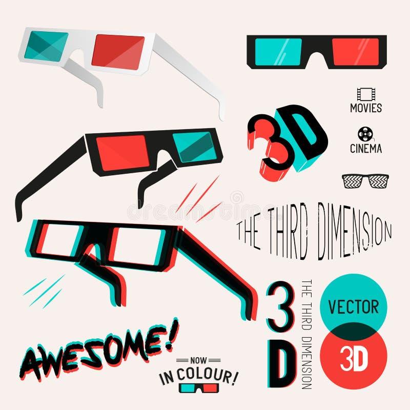 colección retra de los vidrios del cine 3D stock de ilustración