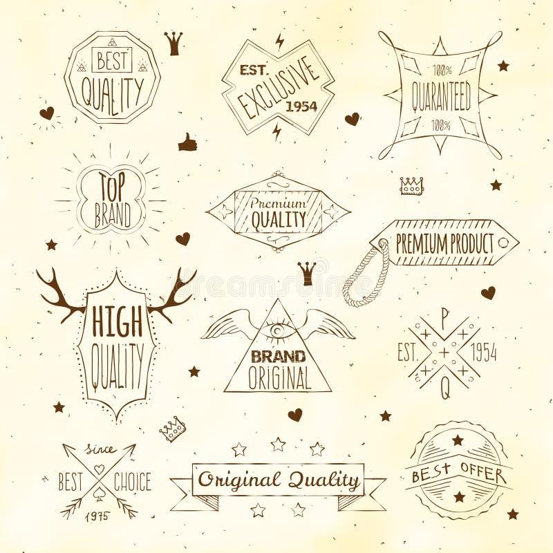 Colección retra del emblema de Premiun stock de ilustración