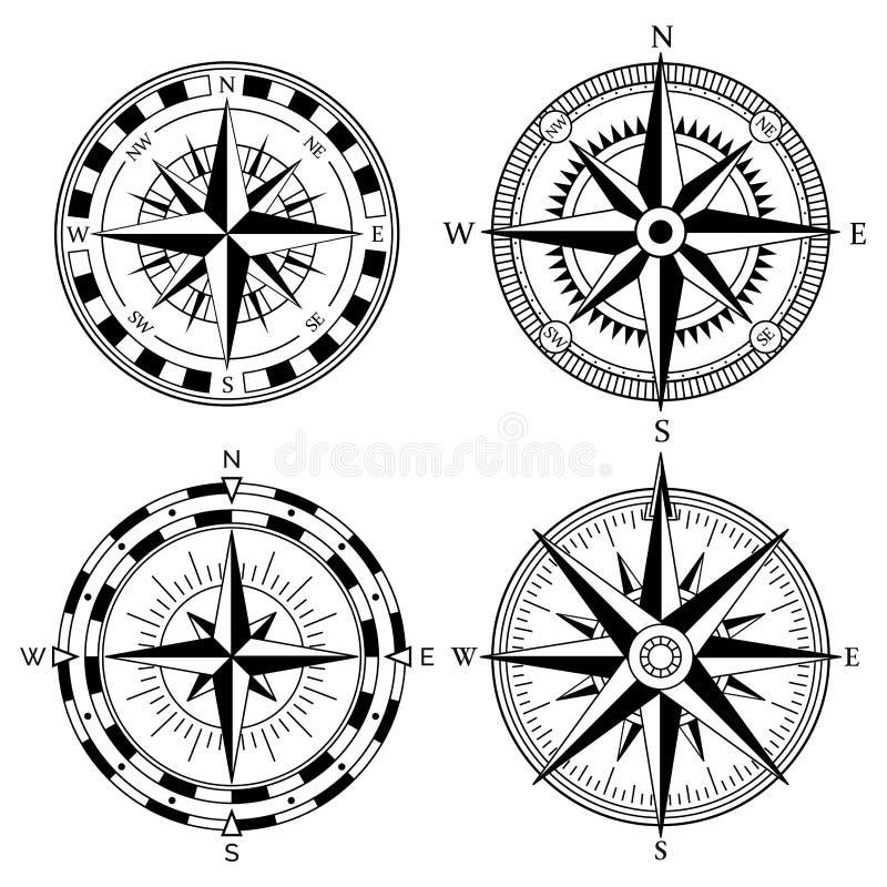 Colección retra del vector del diseño de la rosa del viento Vintage náutico o viento marino color de rosa e iconos del compás fij ilustración del vector
