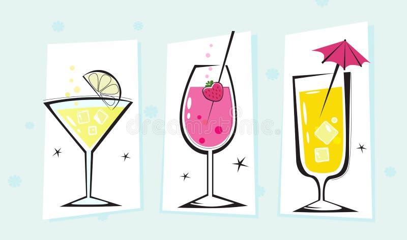 Colección retra estilizada de las bebidas stock de ilustración