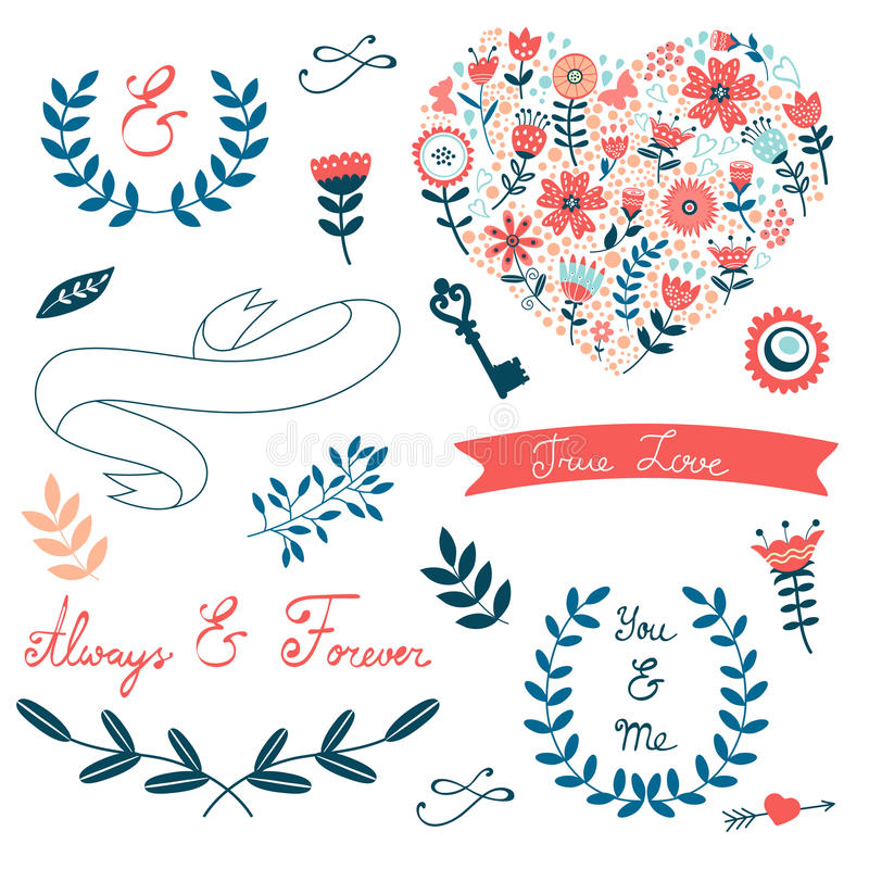 Colección romántica con las flores, guirnaldas stock de ilustración