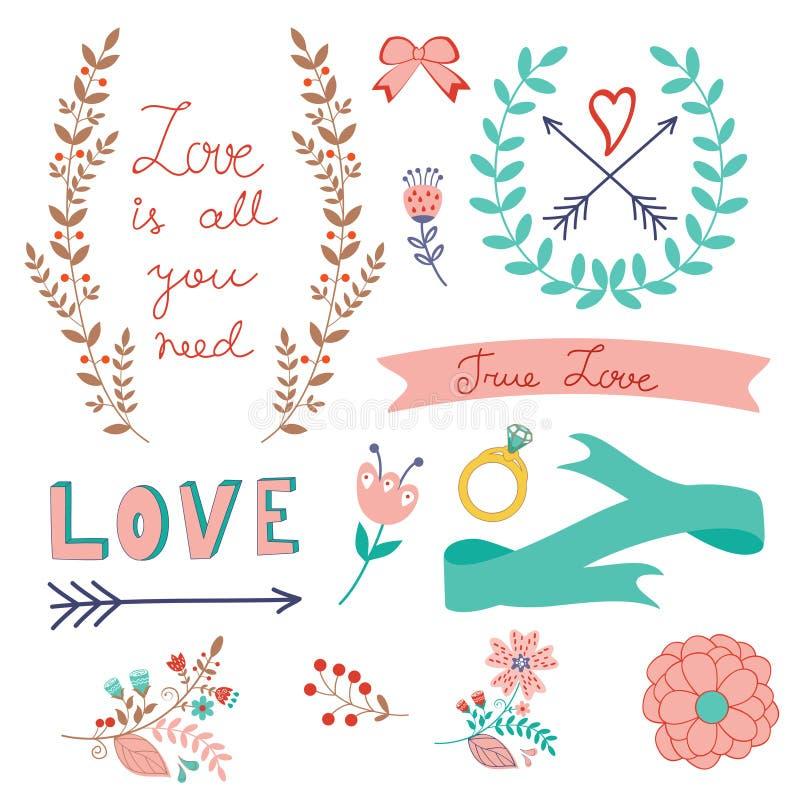 Colección romántica del amor stock de ilustración