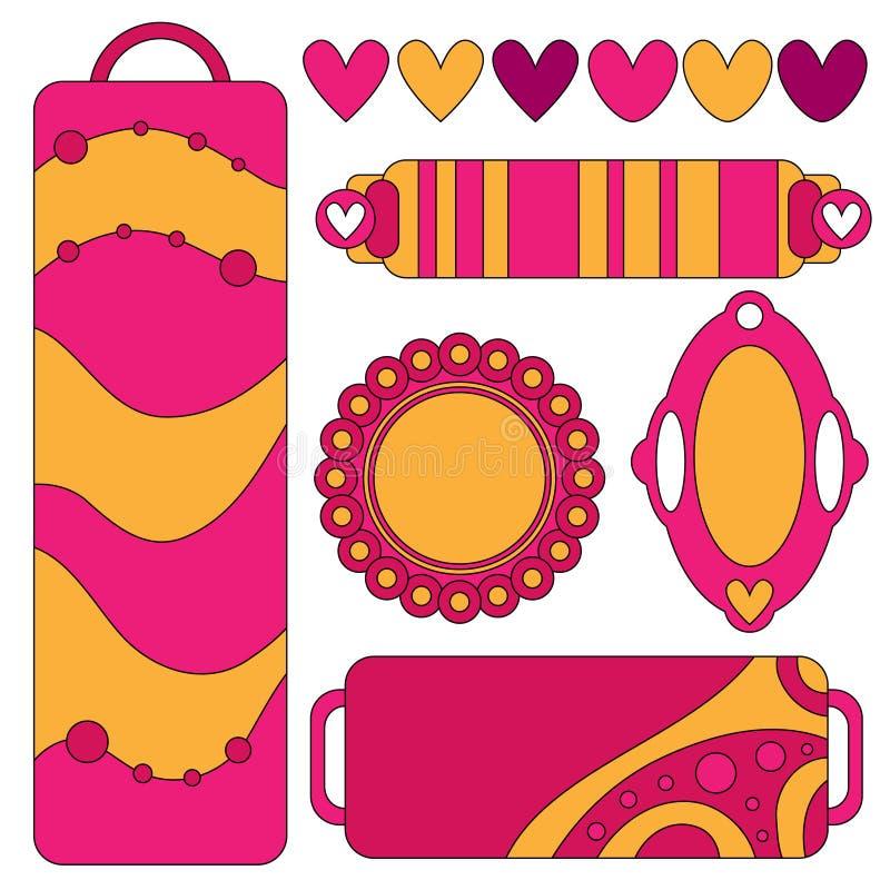 Colección rosada y anaranjada colorida de la etiqueta con los corazones y los puntos libre illustration