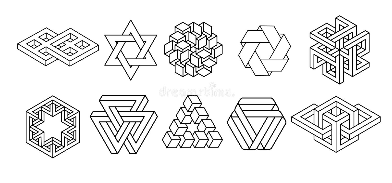 Colección sagrada de los símbolos de la geometría libre illustration