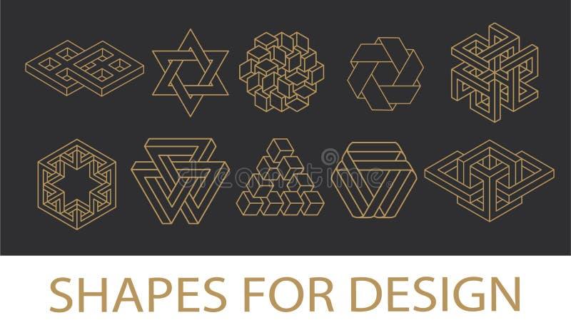 Colección sagrada de los símbolos de la geometría inconformista, extracto, alquimia, espiritual, sistema de elementos místico ilustración del vector
