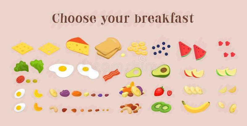Colección sana de los iconos de la comida de desayuno frutas y bayas, nuez stock de ilustración