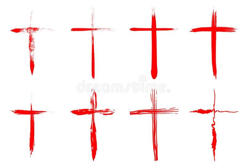 Colección sangrienta dibujada mano de las cruces libre illustration