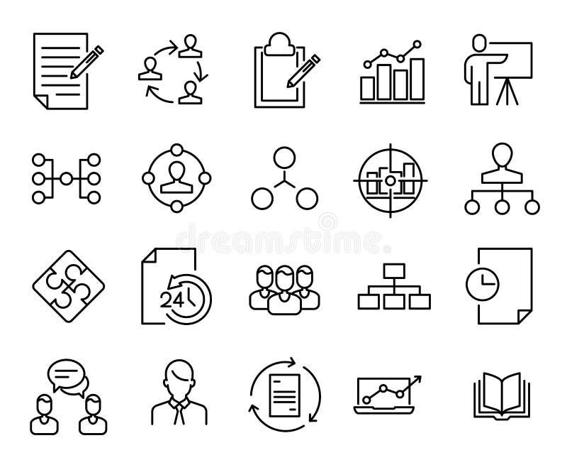 Colección simple de línea relacionada ágil iconos del melé stock de ilustración