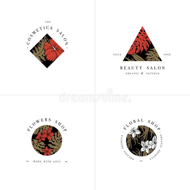 Colección simple del logotipo Sistema grabado del logotipo Salón de belleza botánico y símbolos cosméticos orgánicos con los hibi libre illustration