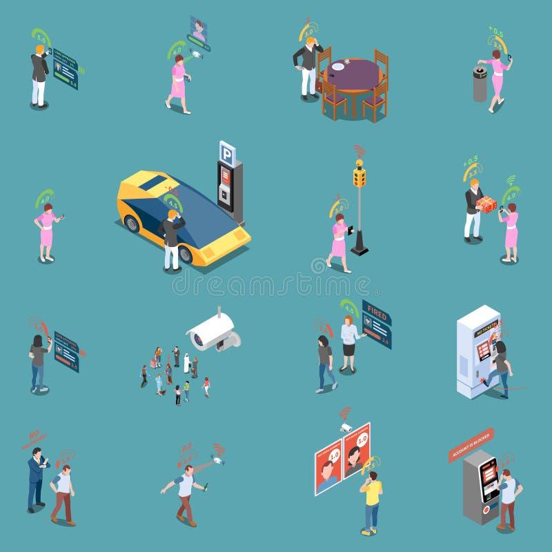 Colección social de los iconos del crédito stock de ilustración