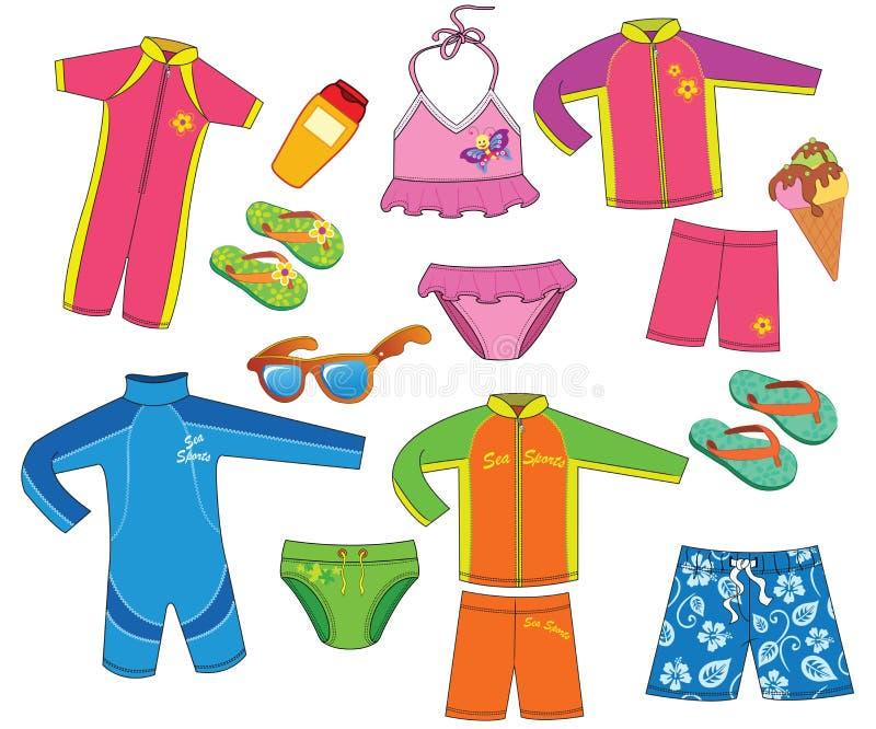 Colección Swimsuit Niño y niña stock de ilustración