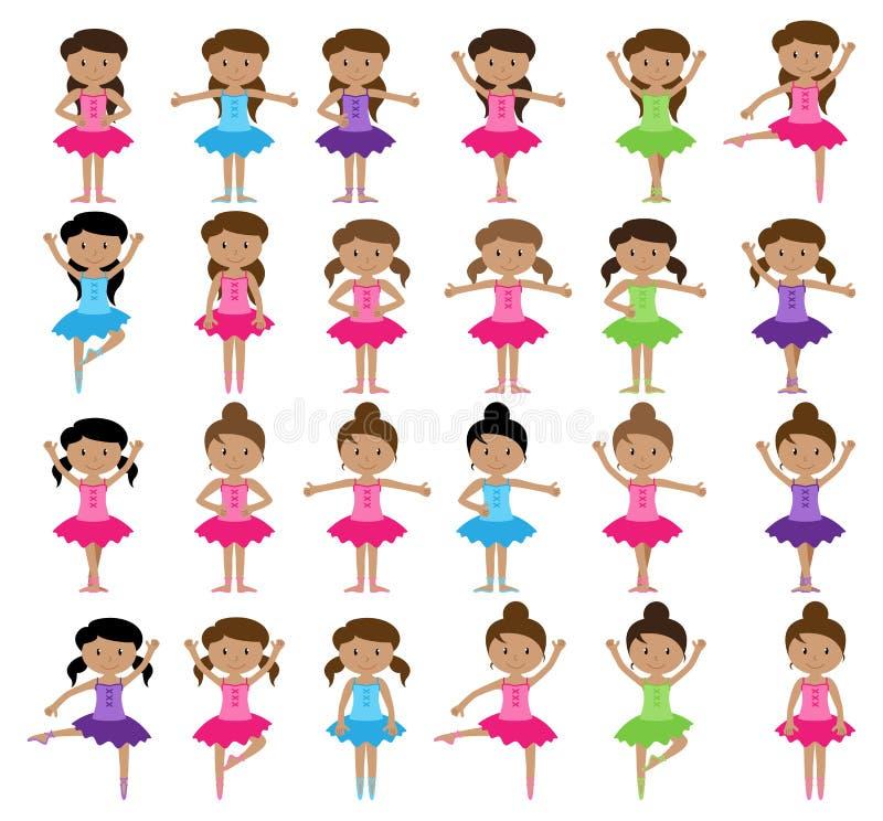 Colección temática del vector del ballet con las muchachas diversas libre illustration