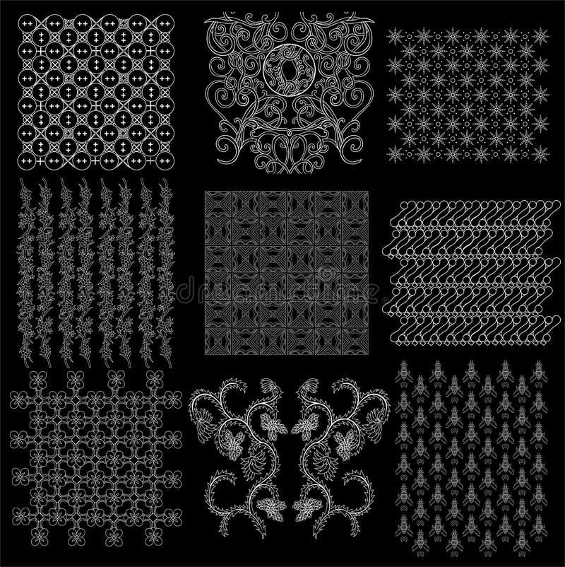 Colección tradicional 2 del modelo del Javanese del batik ilustración del vector