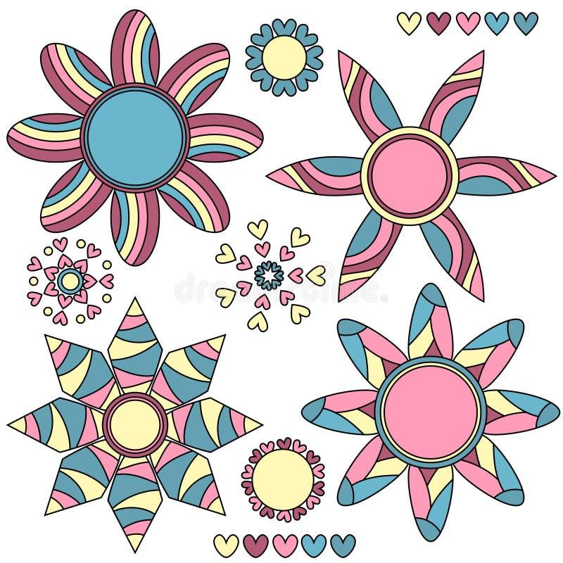 Colección y corazones abstractos coloridos de la flor libre illustration
