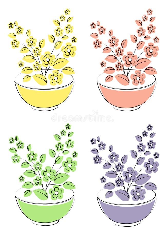 colecci?n Conjunto de la ilustraci?n del vector Flor, planta, creciendo en un pote Alm?cigos de la planta Ejemplo del vector de u ilustración del vector