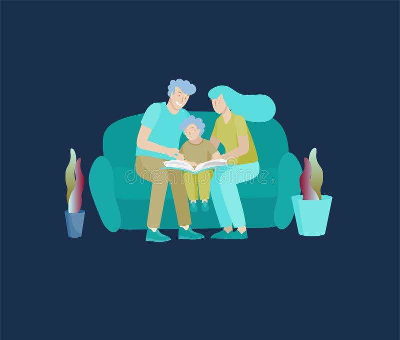 Colecci?n de actividades de la afici?n de la familia La madre, el padre y los niños leen el libro y enseñan al niño historieta libre illustration