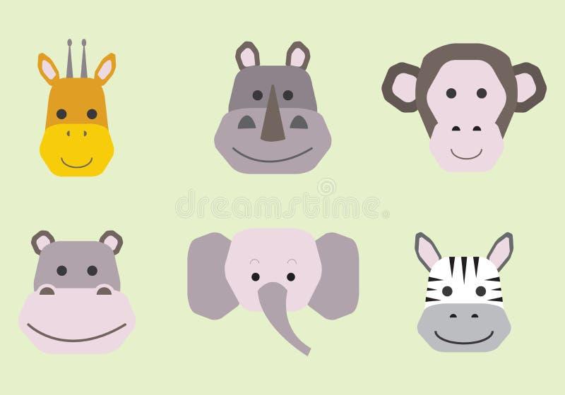 Colecci?n de caras animales lindas, sistema del vector del icono para el dise?o del beb? stock de ilustración