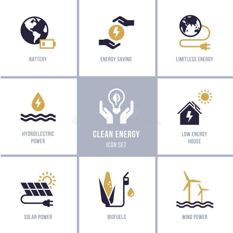 Colecci?n de Eco con los diversos iconos en el tema de la ecolog?a y de la energ?a verde ilustración del vector