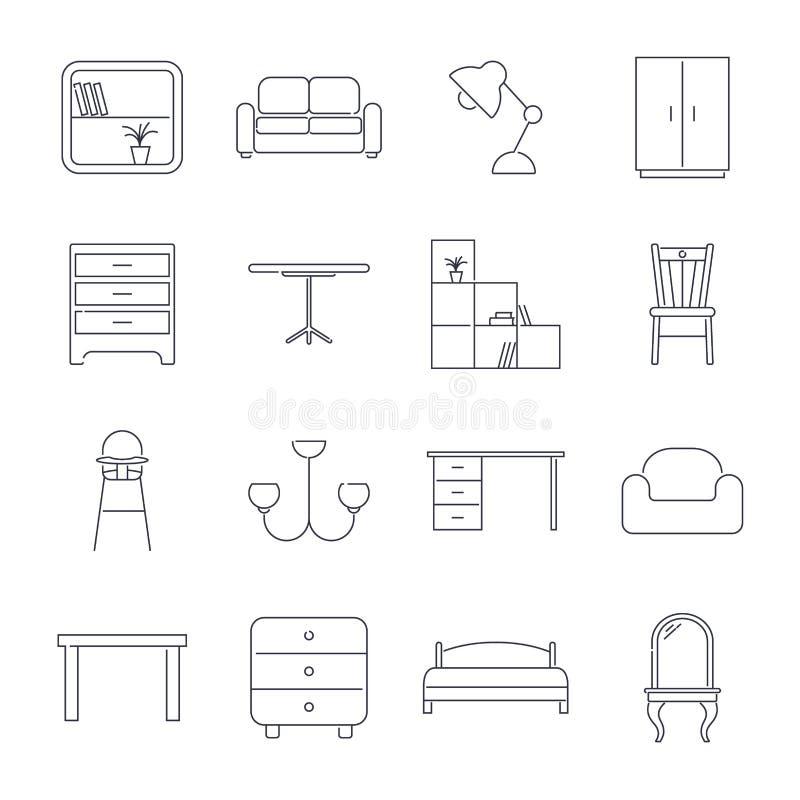 Colecci?n de iconos caseros de los muebles en la l?nea estilo fina Movimiento Editable libre illustration