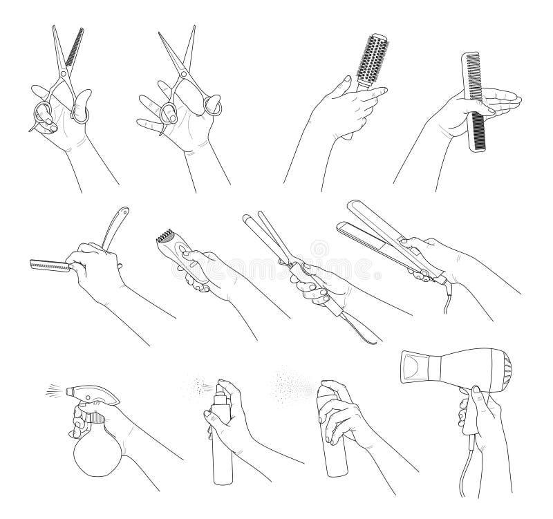 Colecci?n de la mano Manos que sostienen las herramientas del peluquero stock de ilustración