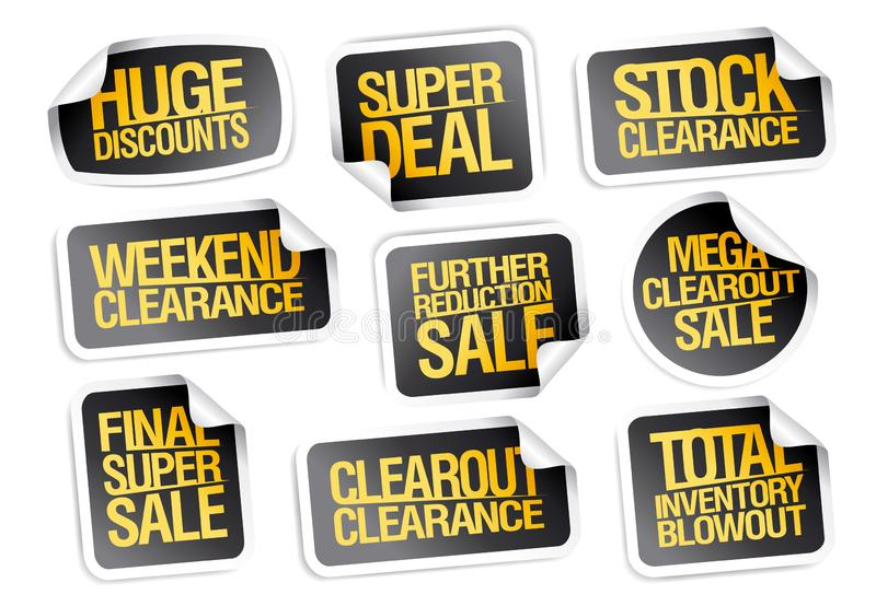 Colecci?n de las etiquetas engomadas de la venta - descuentos enormes, super oferta, liquidaci?n com?n ilustración del vector