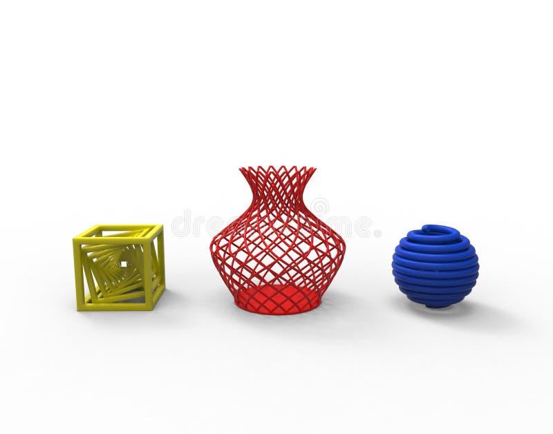 Colecci?n de productos t?picos complejos coloreados de la impresi?n 3D stock de ilustración
