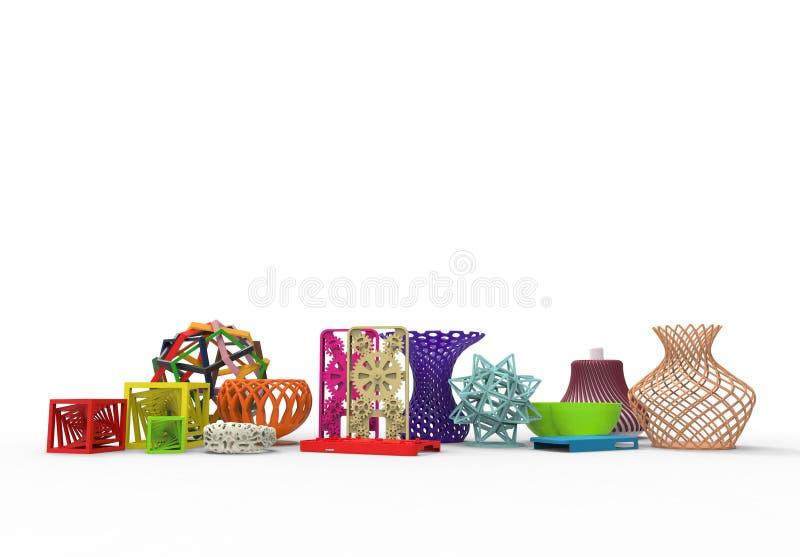 Colecci?n de productos t?picos complejos coloreados de la impresi?n 3D ilustración del vector
