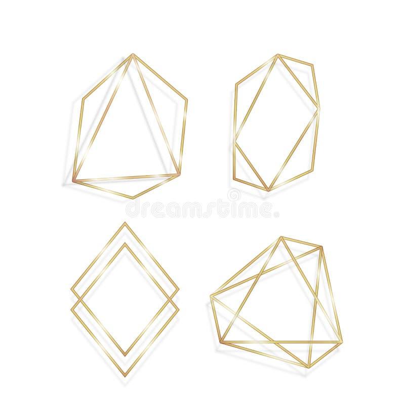 Colecci?n de sistema de lujo poligonal de oro del vector de los marcos ilustración del vector