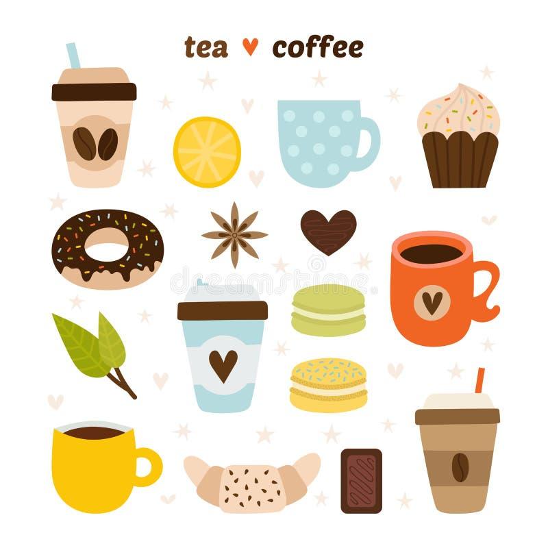 Colecci?n del caf? y del t? Iconos de la cafeter?a Macarrones, chocolate, torta, lim?n, cruas?n, canela, bu?uelo stock de ilustración