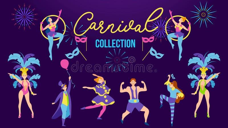 Colecci?n del carnaval con la gente festiva que lleva diversos trajes Gente del partido del traje Sistema de la gente de Carnaval libre illustration