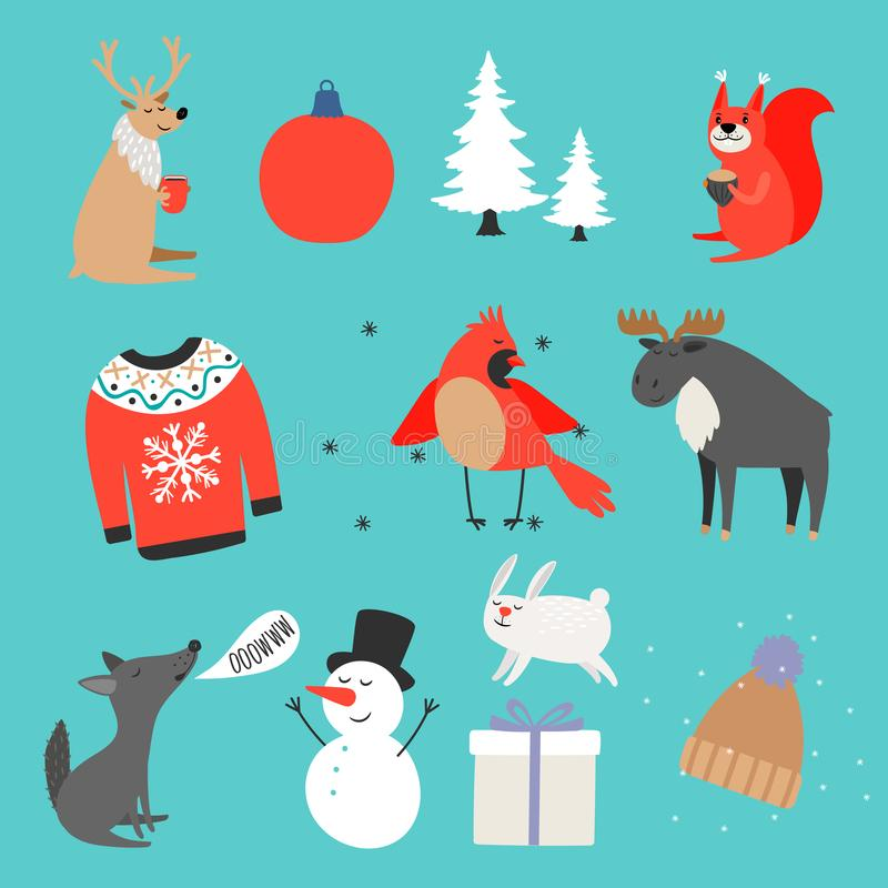 Colecci?n del invierno Suéter caliente, sombrero, animales lindos y diseño del vector de los elementos de la Navidad libre illustration