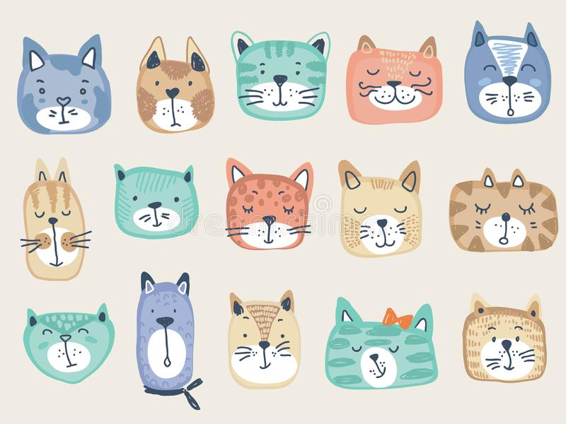 Colecci?n del vector de caras coloridas del gato Ejemplo divertido para los ni?os ilustración del vector
