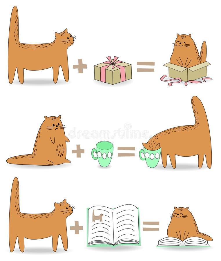 colecci?n El gato rasga la cortina, las bebidas animales de la taza, el animal doméstico lee un libro Matemáticas de la diversión libre illustration
