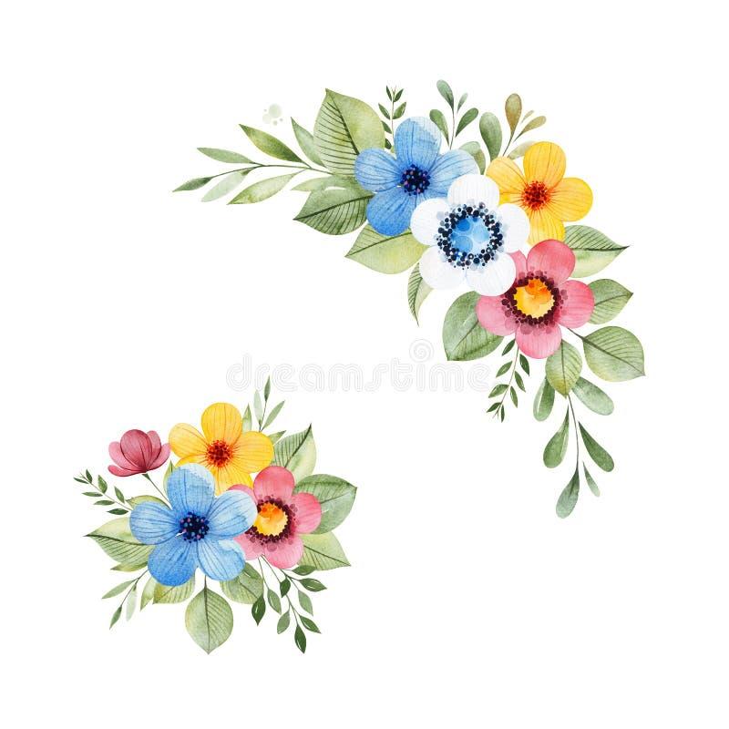 Colecci?n floral colorida con las flores multicoloras, hojas, ramas, bayas ilustración del vector