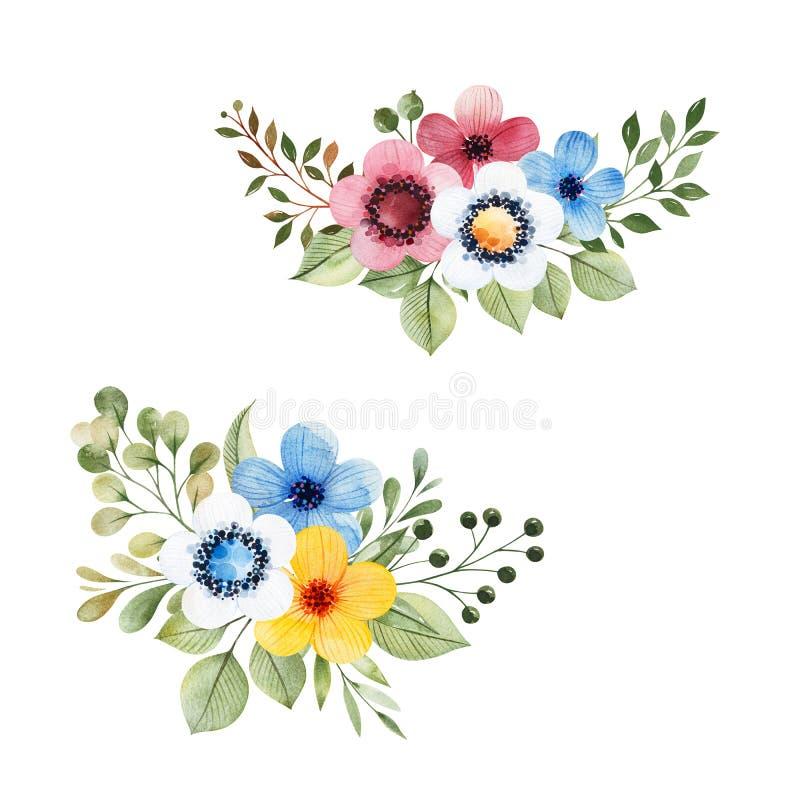 Colecci?n floral colorida con las flores multicoloras, hojas, ramas, bayas libre illustration