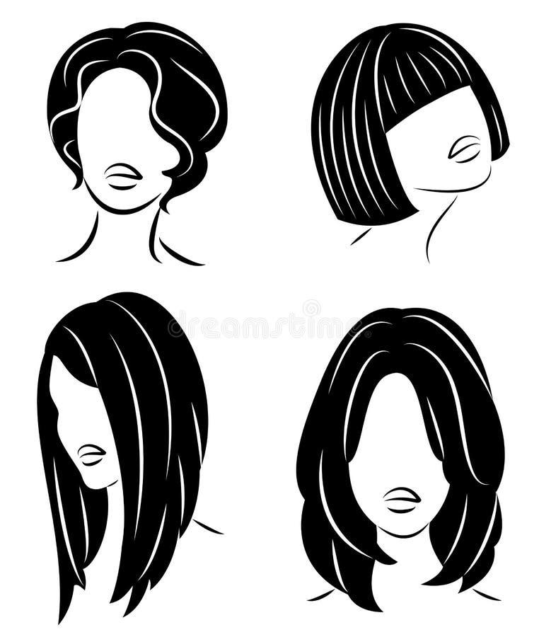 colecci?n Perfil de la silueta de una cabeza linda de la se?ora s La muchacha muestra su peinado para el pelo medio y largo Conve libre illustration