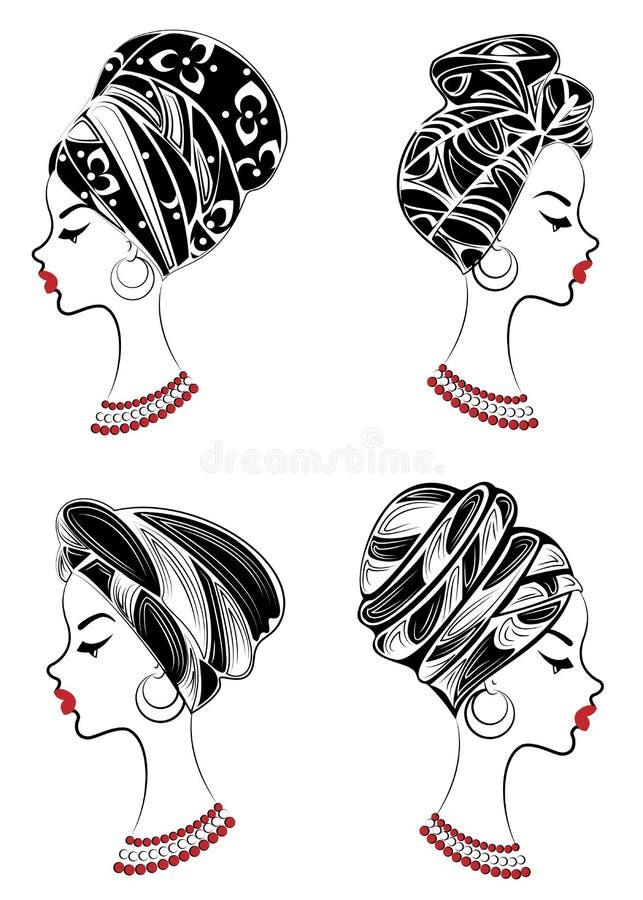 colecci?n Perfil de una se?ora dulce En la cabeza de una muchacha afroamericana es un mantón hecho punto, un turbante La mujer es libre illustration